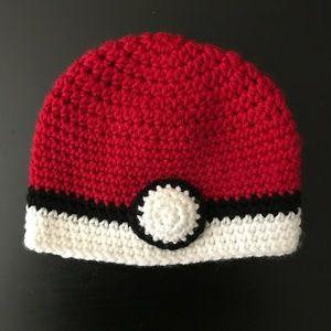 Hand made kids Pokémon poke ball crocheted beanie